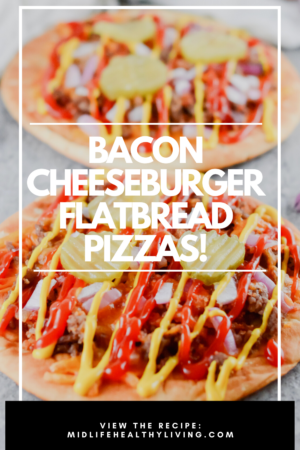 A pin showing the delicious bacon cheeseburger flatbread pizzas in back finished and ready to eat.