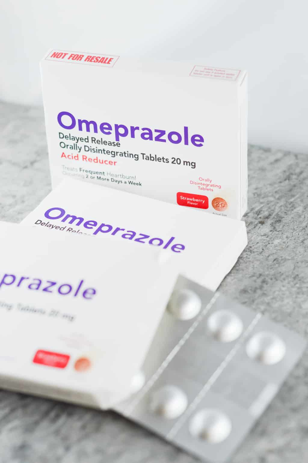 Packs of the omeprazole tablets shown for readers to see what I use!