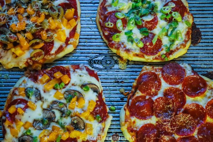 Featured image showing all kinds of finished WW pizza recipes with toppings.