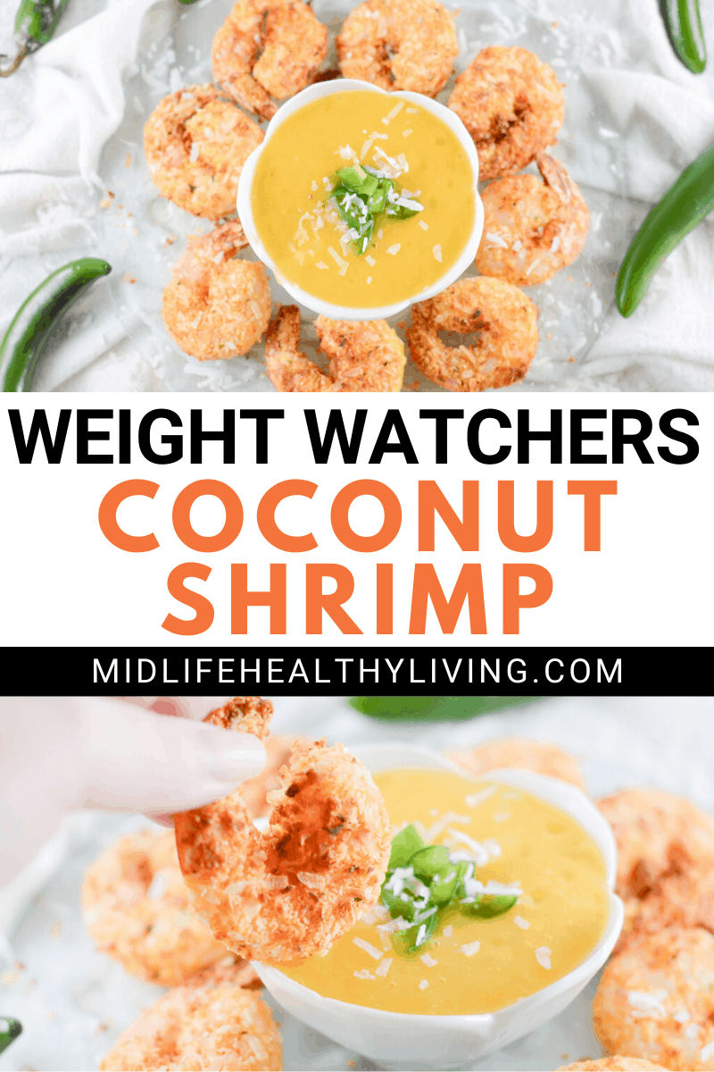 A pin that shows the title in the middle and the finished weight watchers coconut shrimp on top and bottom.
