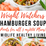 A pin that shows the title in the middle with images of the finished weight watchers hamburger soup on top and bottom.