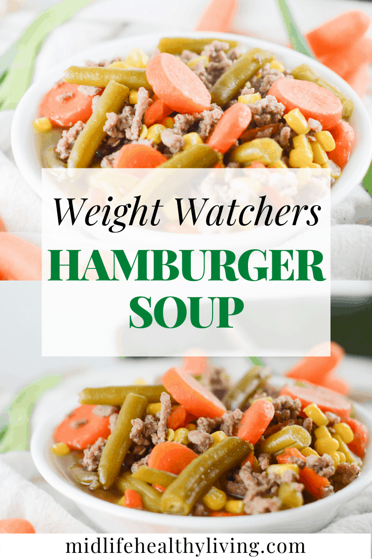 Another pin with the title in the middle and the images of the finished hamburger soup for weight watchers on the top and bottom.