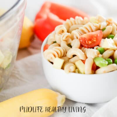 A featured image showing the finished weight watchers pasta salad recipe in a bowl ready to eat.