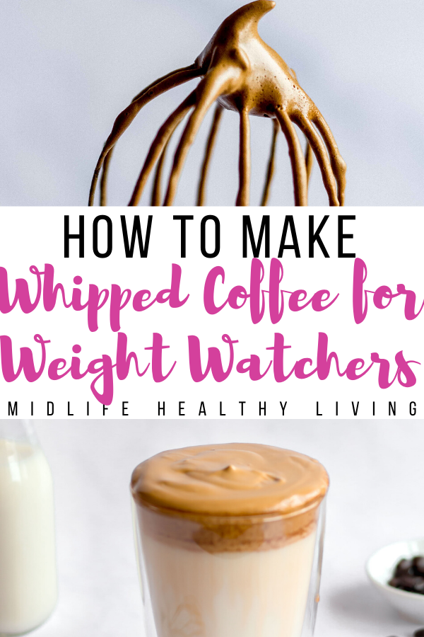 Another pin showing the finished weight watchers whipped coffee ready to be enjoyed with the title in the middle.