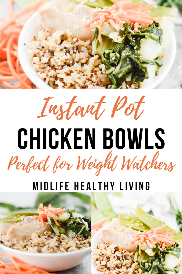 Pin showing the finished chicken bowls ready to eat.