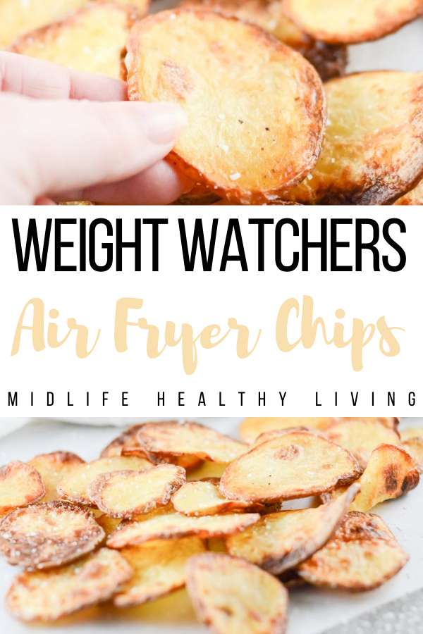 A pin that shows the finished chips for weight watchers made in the air fryer with the title shown across the middle.