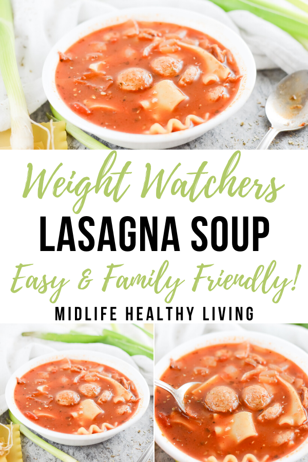 Another pin showing the finished weight watchers lasagna soup and the title in the middle.