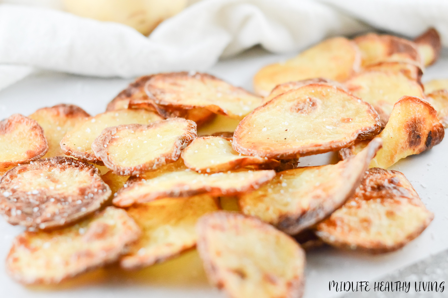 These delicious weight watchers air fryer chips are finished and ready to be served.