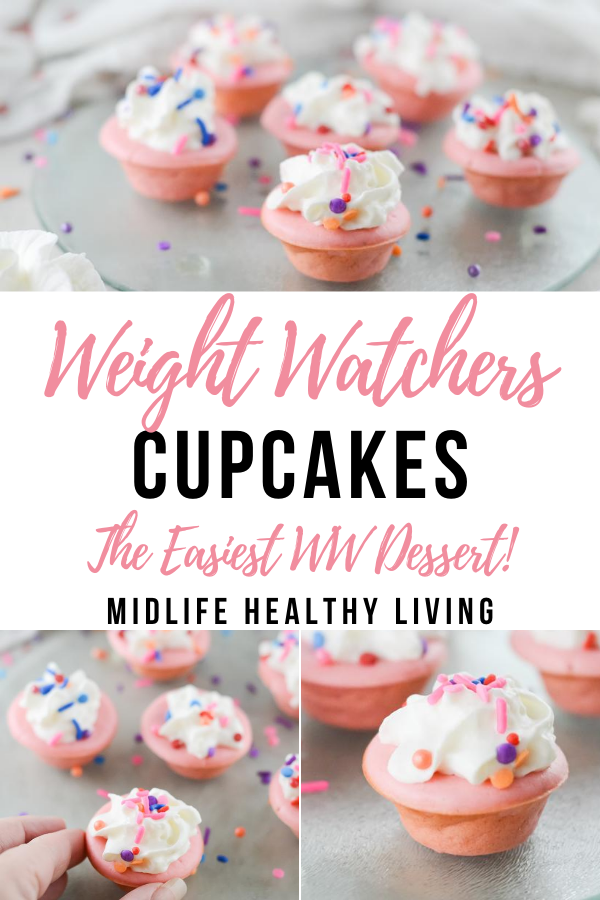 Pin showing the finished weight watchers cupcake bites recipe with title in the middle.