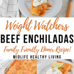 A pin showing the title in the middle and photos of the finished beef enchiladas for weight watchers on top and bottom.