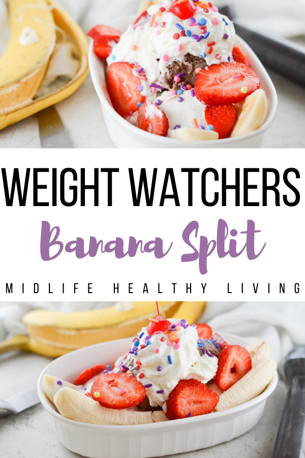 Weight Watchers banana split pin showing the finished recipe with title in the middle.