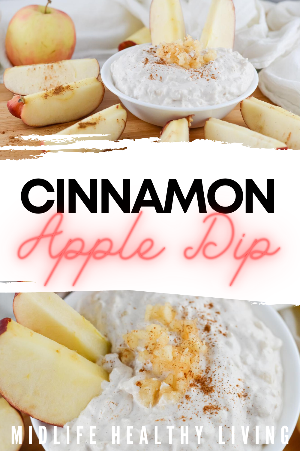 A pin showing the finished cinnamon apple dip ready to eat!