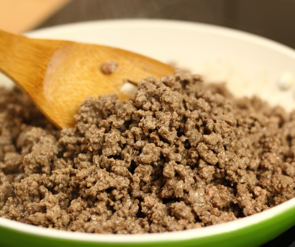 ground beef cooking in a skillet