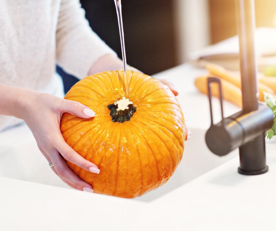 pumpkin being washed.