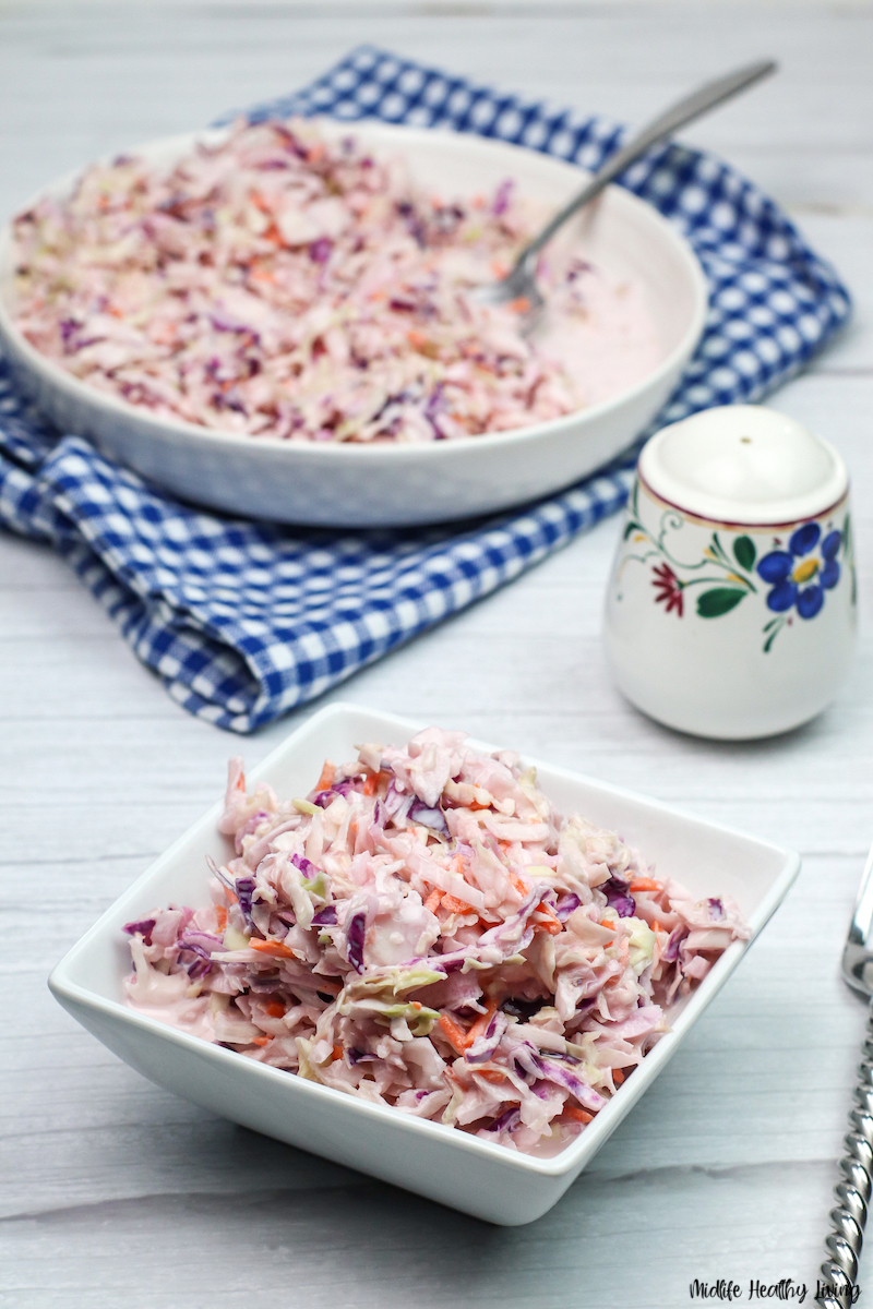 Finished look at the healthy homemade coleslaw ready to eat.