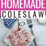 pin showing the homemade coleslaw ready to eat.