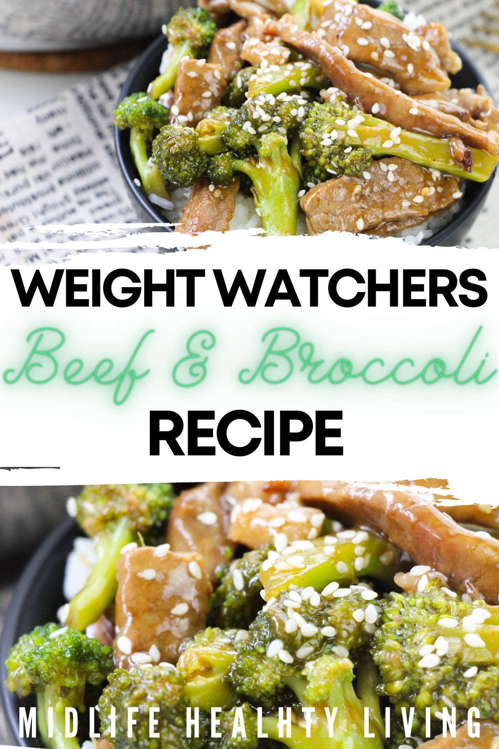 Pin showing the finished weight watchers beef and broccoli recipe ready to eat with title across the middle.