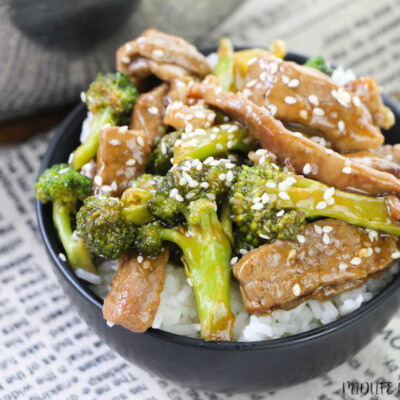 Featured image showing the finished beef and broccoli for weight watchers ready to eat.