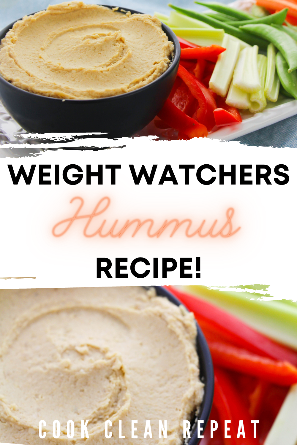 Pin showing the finished weight watchers hummus recipe ready to eat with title across the middle.