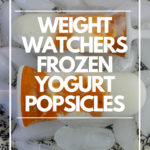 Pin showing the finished weight watchers yogurt popsicle recipe with pumpkin and title across the middle.