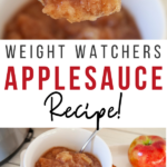 Pin showing the finished weight watchers applesauce recipe with title across the middle.