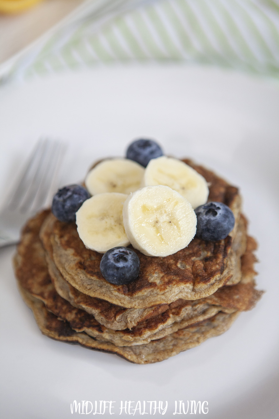 A big stack of the finished ww banana pancakes ready to eat.