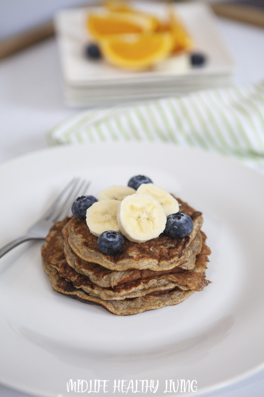 A plate full of healthy pancakes ready to serve.