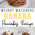 pin showing the finished ww banana pancakes with title across the middle.