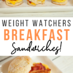 Pin showing the finished weight watchers breakfast sandwich recipe with title across the middle.