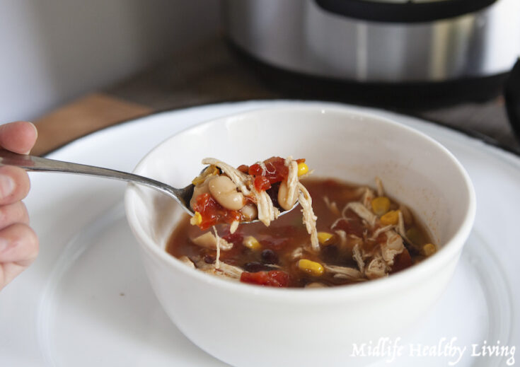 Featured image showing the finished weight watchers chicken taco soup in a bowl ready to eat.