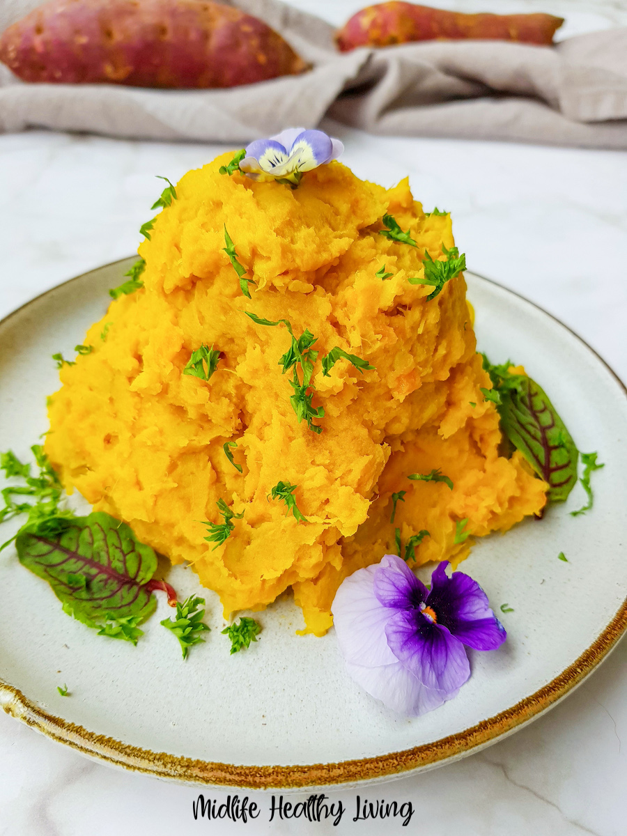 A close up view of the finished mashed sweet potatoes ready to serve.