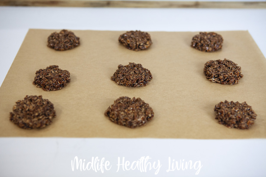 A tray of the finished chocolate peanut butter no bake cookies ready to eat.