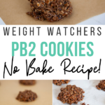 Pin showing the finished weight watchers pb2 cookies ready to eat with title across the middle.
