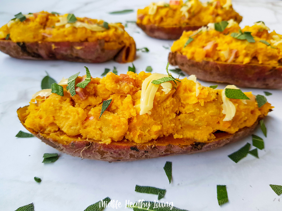featured image showing the finished weight watchers stuffed sweet potatoes ready to serve.