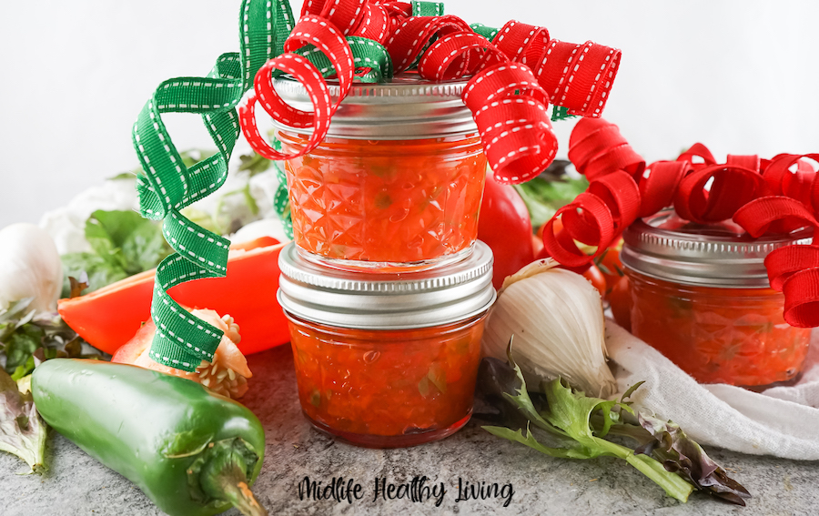 here we see the finished recipe in jars with bows perfect for gifting.