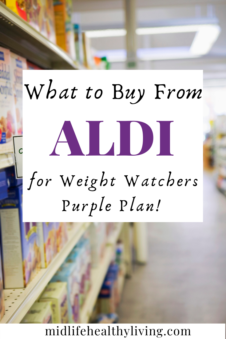 another pin showing the title of weight watchers foods to buy from Aldi on purple plan.