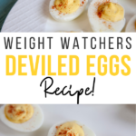 Pin showing the finished weight watchers deviled eggs with title across the middle.