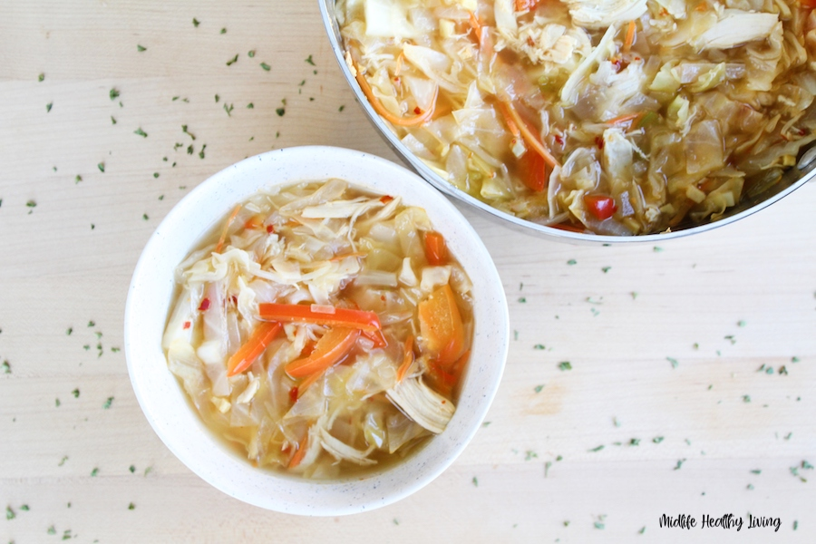 A top down look at a bowl of the finished weight watchers soup recipe ready to eat.
