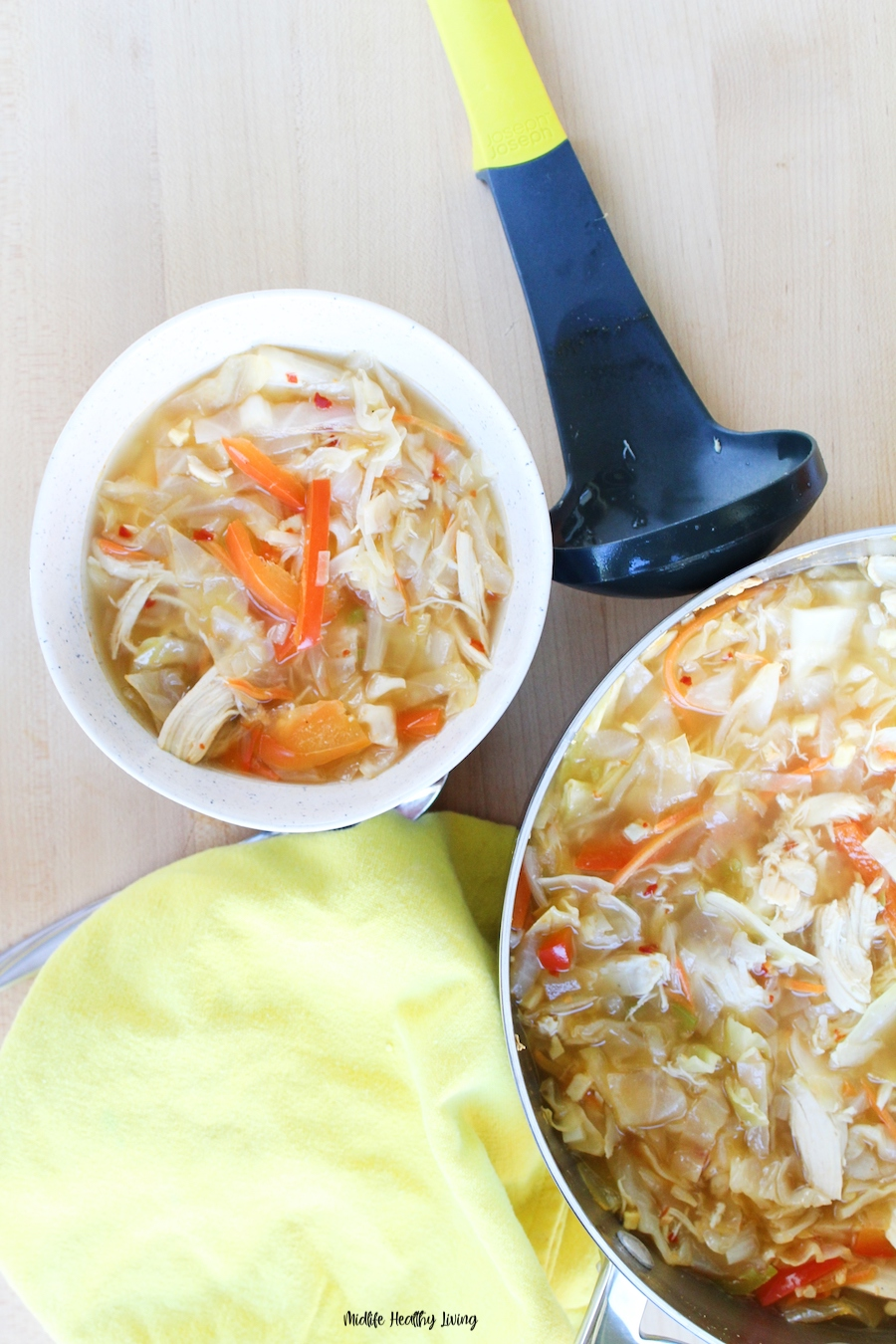 A top down look at the finished cabbage soup ready to enjoy.