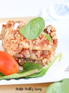 Featured image showing the finished weight watchers eggplant casserole ready to eat.