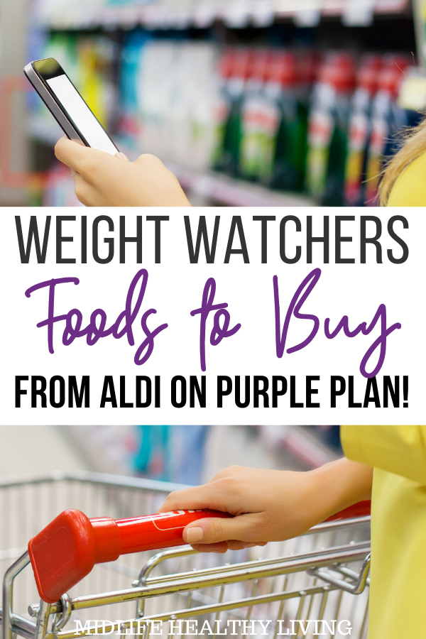 Weight Watchers foods to buy from Aldi on purple plan pin showing title across the middle.