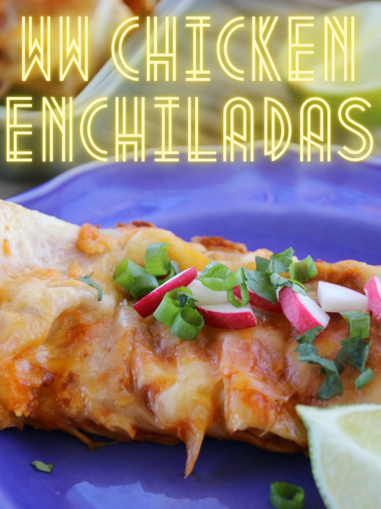 Pin showing the finished chicken enchiladas ready to serve with title at the top.