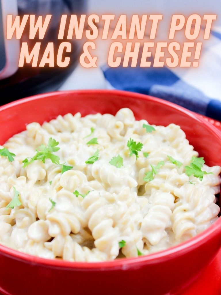Pin showing the finished weight watchers instant pot Mac and cheese.