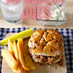 pin showing the finished weight watchers sloppy joes ready to eat with title across the top.