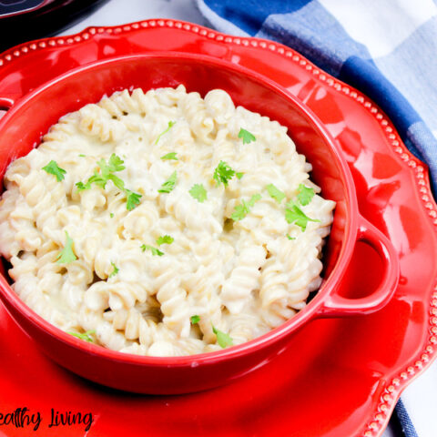 Featured image showing the finished Weight Watchers Mac and cheese made in the Instant Pot.