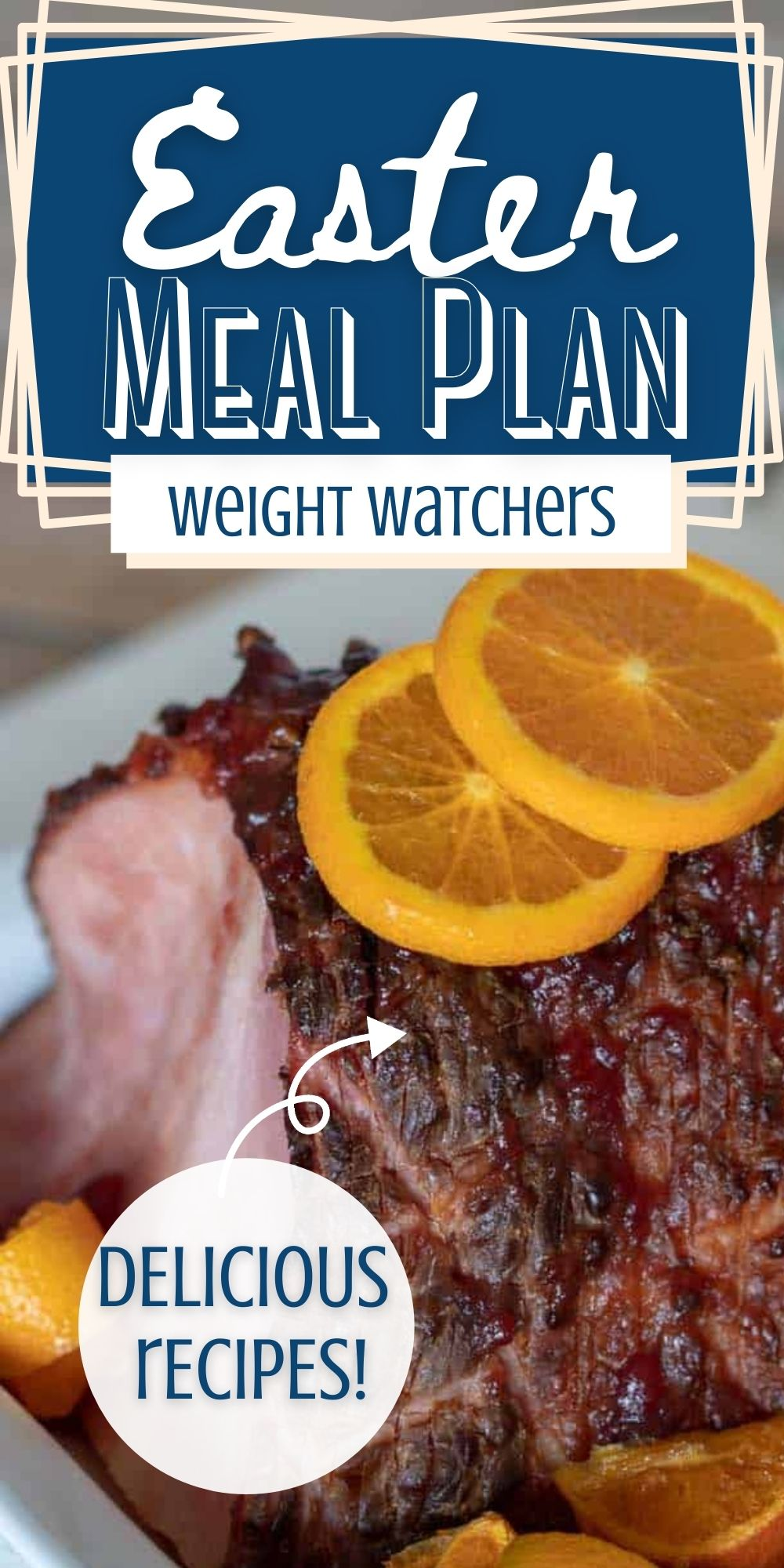 pin showing the finished easter meal plan with ham
