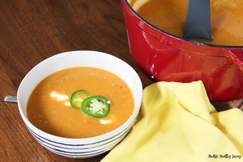 Featured image showing the finished weight watchers pumpkin soup recipe ready to eat.
