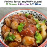 Pin showing the finished weight watchers ground turkey goulash with points and title across the top.