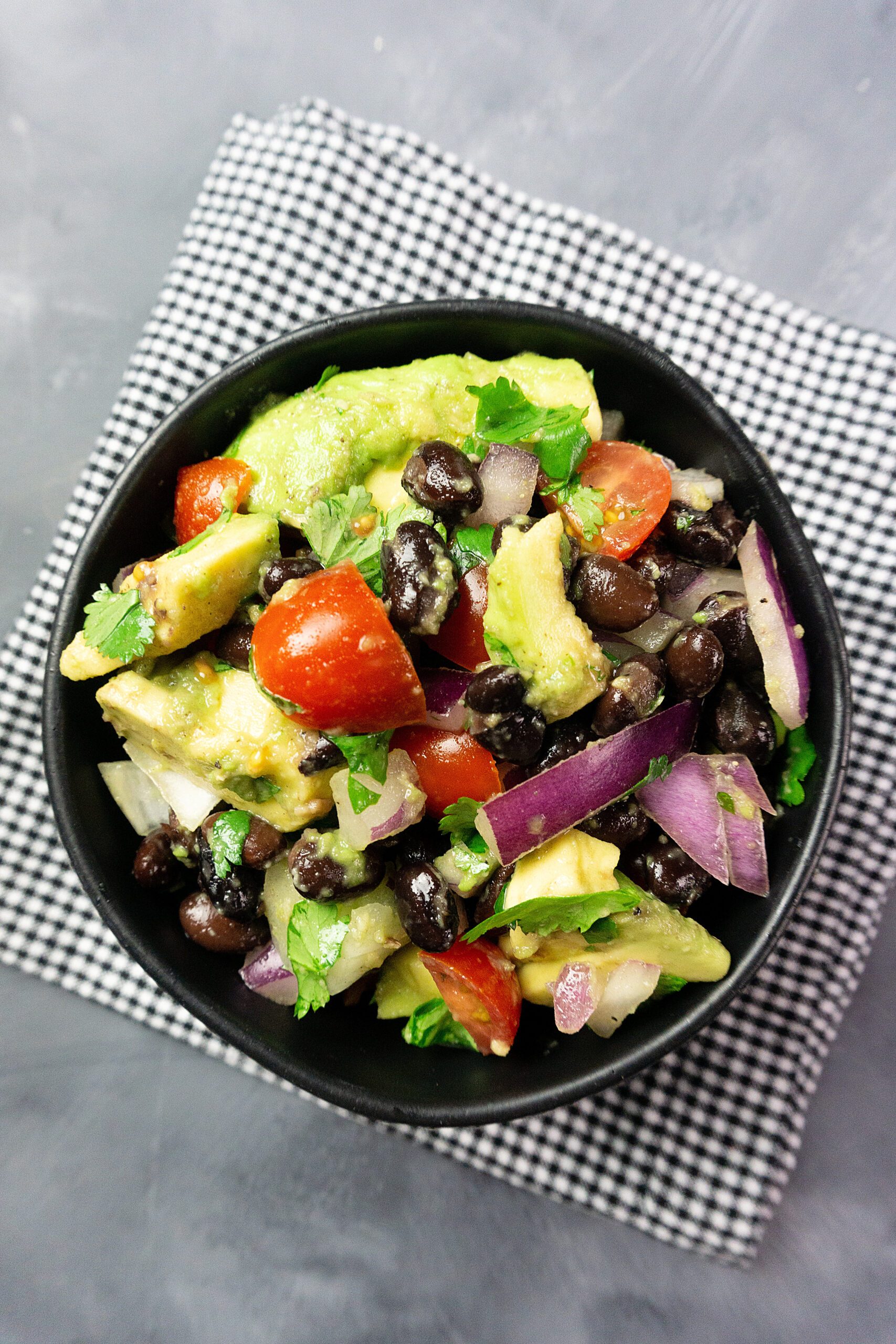A close up view of the finished weight watchers black bean salad.