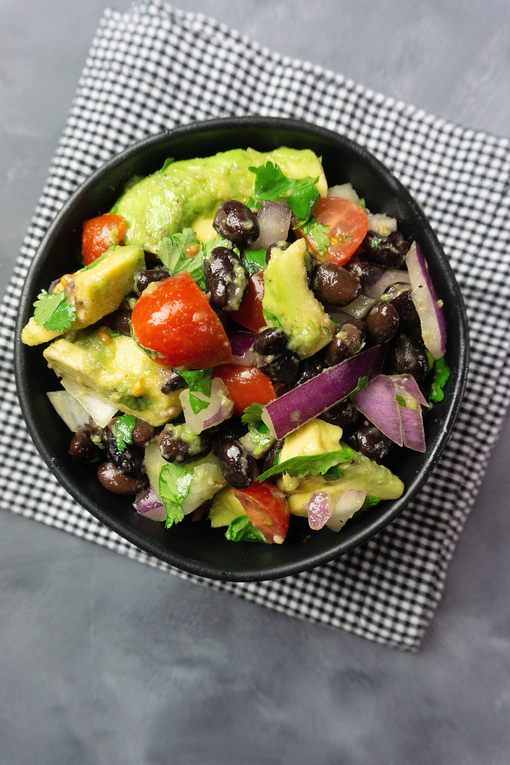 A top down look at the finished black bean salad for weight watchers ready to eat.